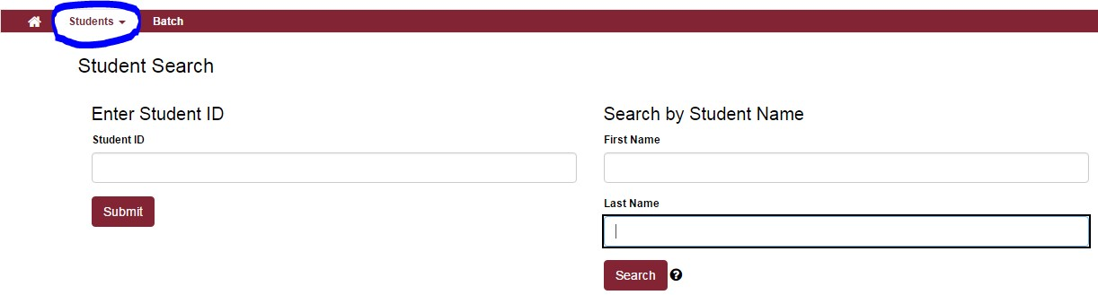 Student search tab 1